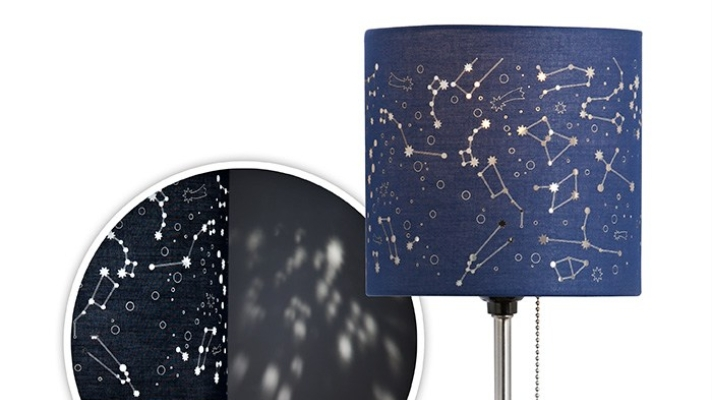 A blue coloured lampshade with a celestial Zodiac map pattern