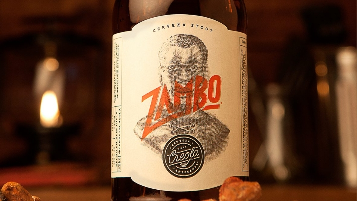Zambo Creola Cerveza Stout packaging and branding