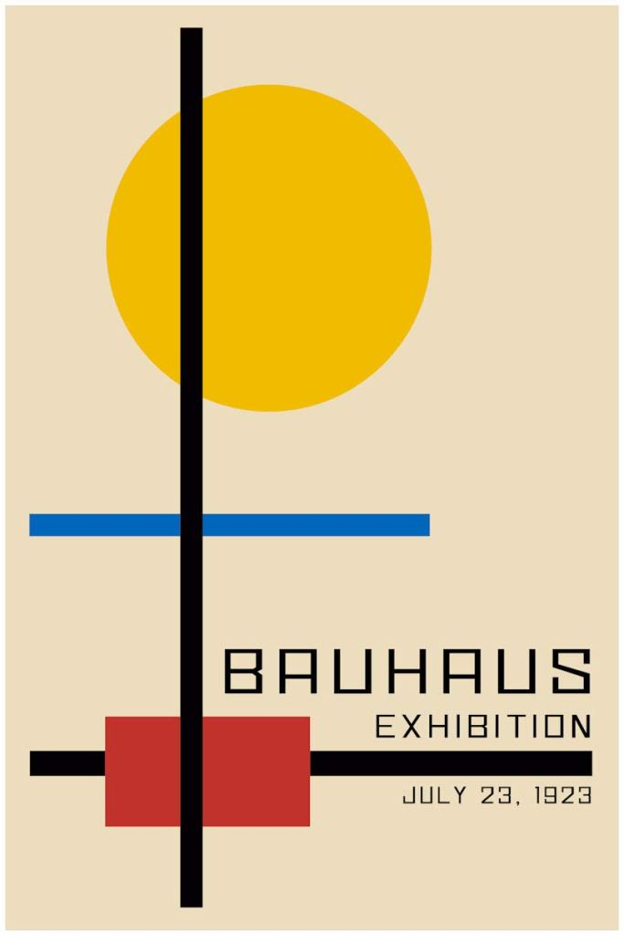 Bauhaus Style Poster Exhibition Poster 1923, (Bauhaus Fusion of the Arts)
