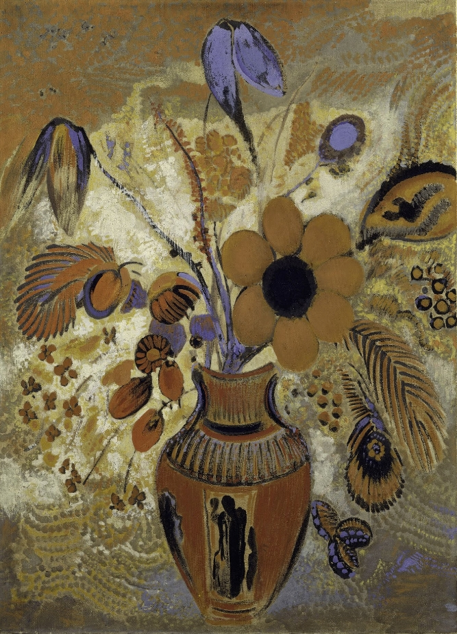 Etruscan Vase with Flowers by Odilon Redon 1900-1910