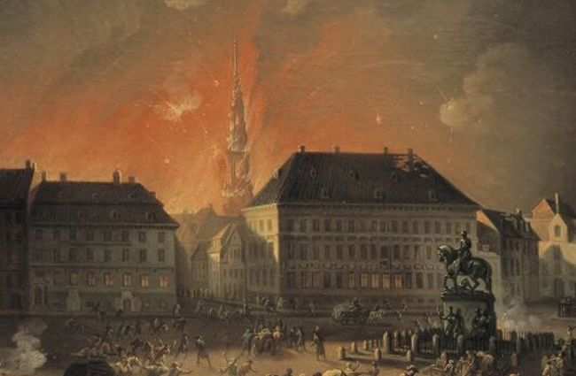 The Most Terrible Night. View of Kongens Nytorv in Copenhagen During the English Bombardement of Copenhagen at Night between 4 and 5 September 1807