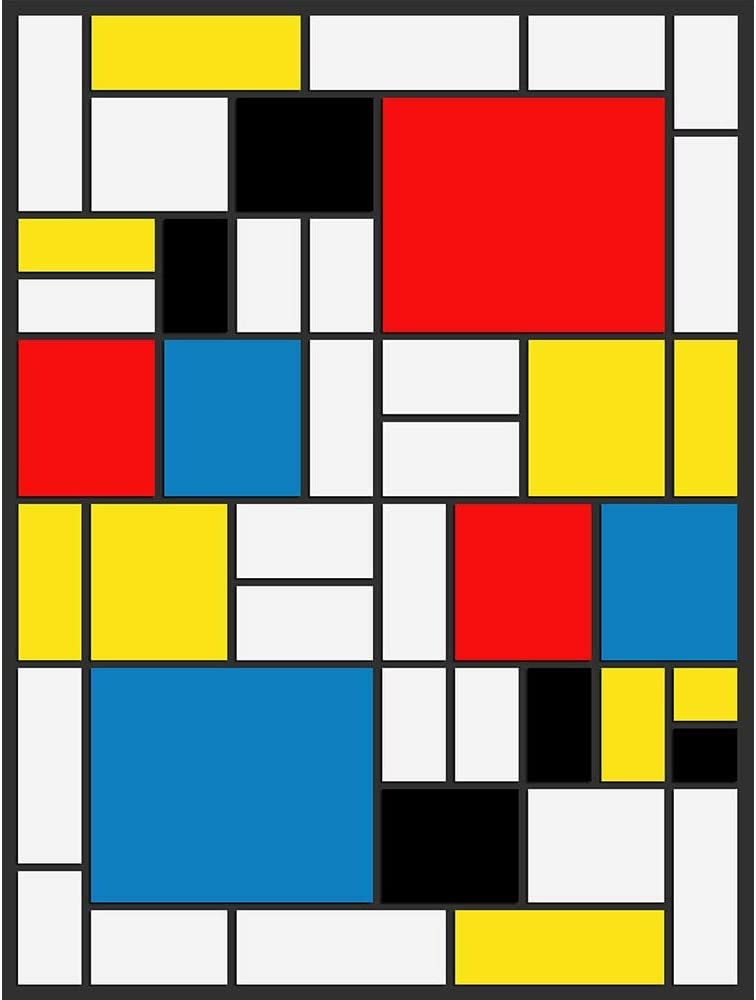 Mondrian Abstract Cubes Squares Old Master Art Painting Print 12x16 inch