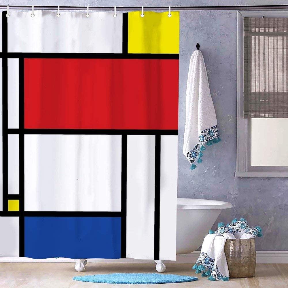 Mondrian Minimalist De Stijl Modern Art Polyester Waterproof Fabric Bath Curtain with Hooks