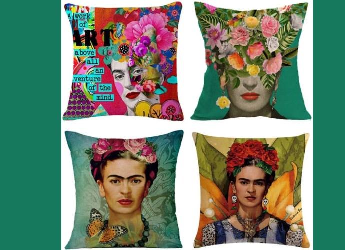 Joyi 4 Pack Frida Kahlo Self-Portrait Cotton Linen Throw Pillow Case