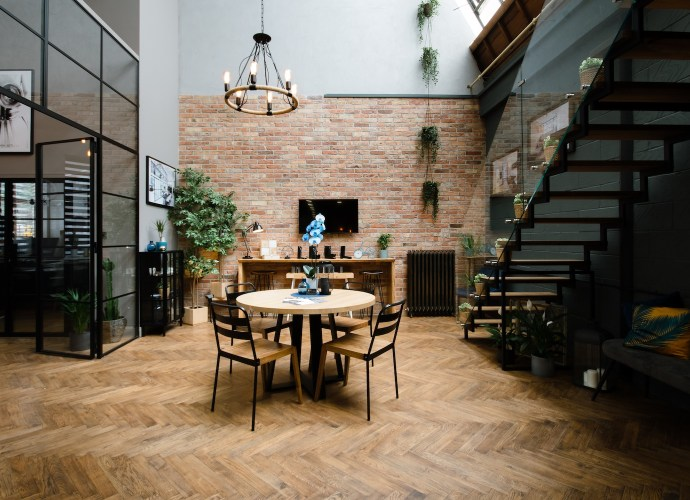 Interior Design table and staircase