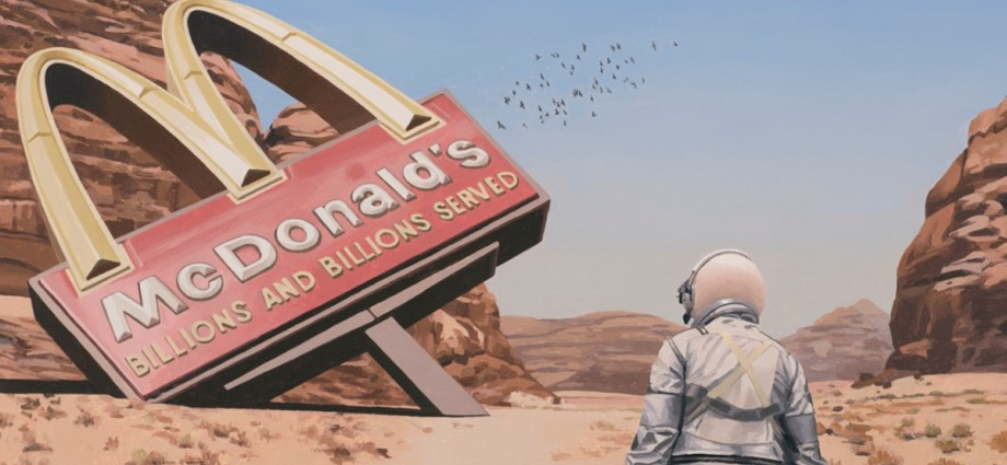 Scott Listfield Astronaut Illustration with astronaut standing in front of McDonald's sign