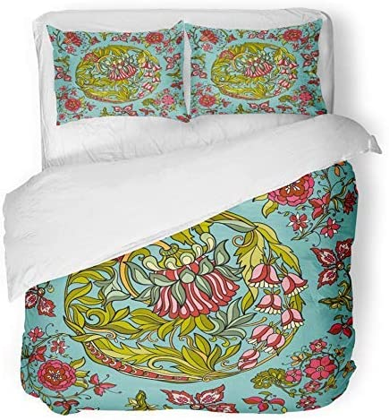 3 Piece Duvet Cover Set Breathable Brushed Microfiber Fabric William Floral in Middle Ages Style
