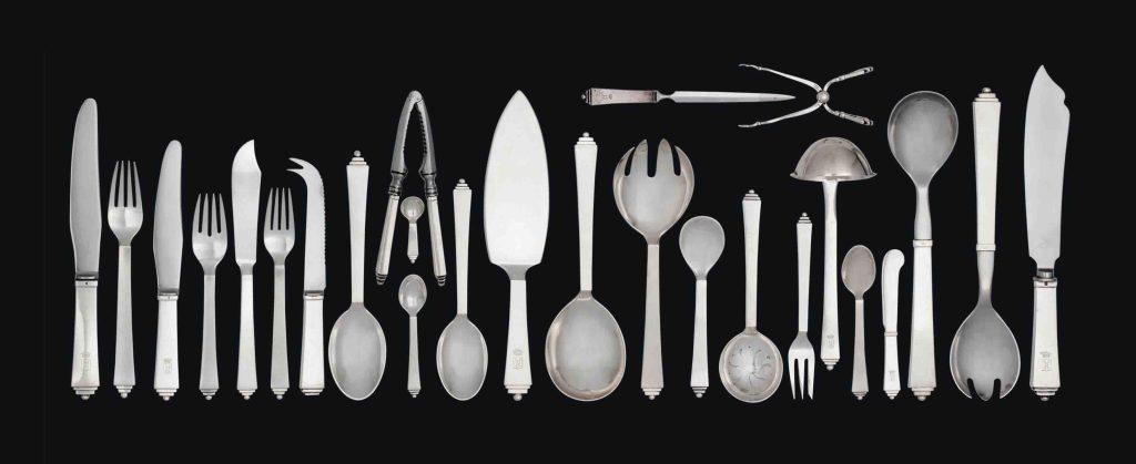 A Georg Jenssen silver pyramid pattern comprehensive set of cutlery designed by Harold Nielsen.
