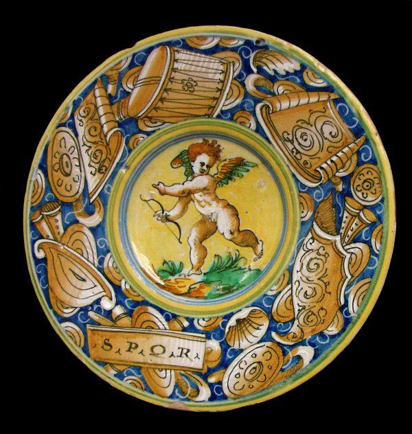 Istoriato decoration on a plate from Castel Durante, c. 1550–1570 (Musée des Beaux-Arts de Lille)