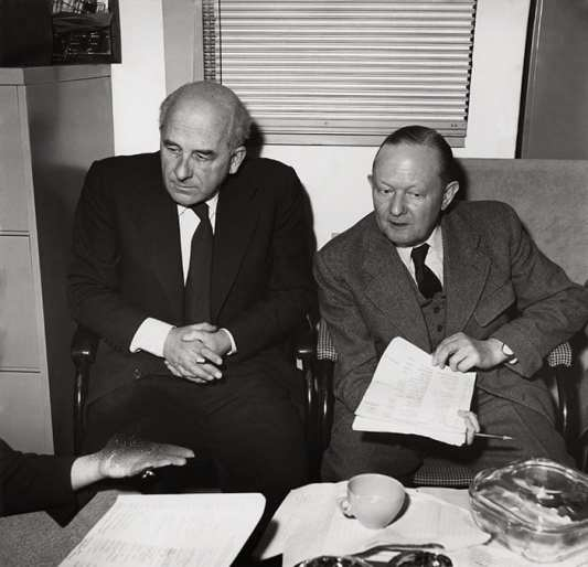 Brian O'Rorke on the left, photographed with Milner Gray. Design Council Archive, University of Brighton Design Archives.