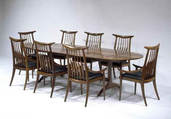 Sam Maloof, Drop-leaf Dining Table with Wood Hinges, 1975, Brazilian rosewood, Smithsonian American Art Museum