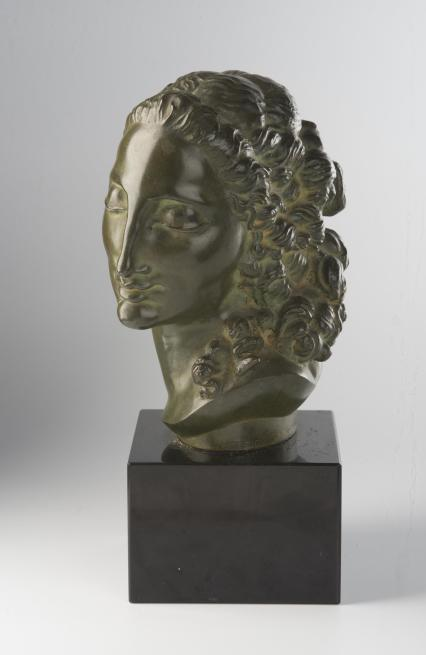 Livia, bronze, green patina, signed Horejc, height 18 cm, a black marble stand (Zí)