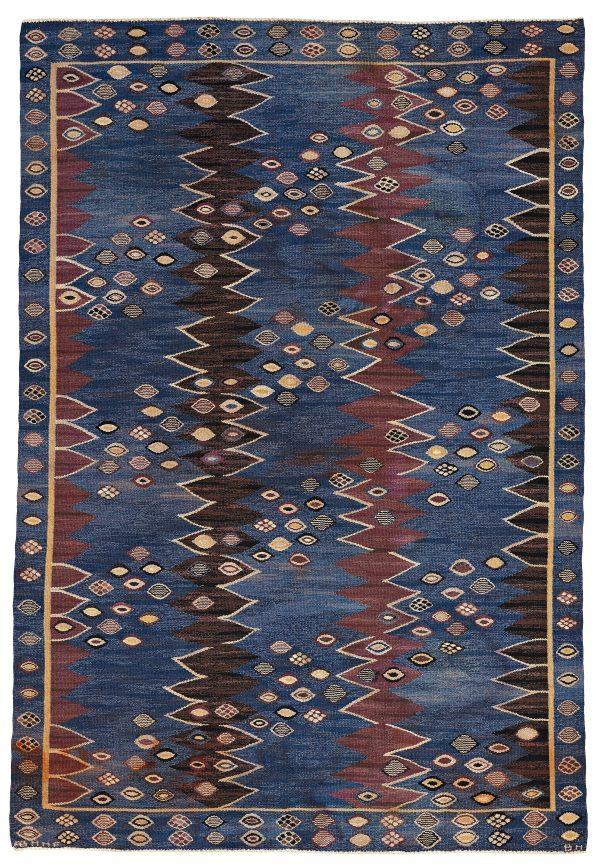 "A carpet ""Snäckorna"", flat weave. (AB Märta Måås-Fjetterström, Barbro Nilsson). Designed in 1943."