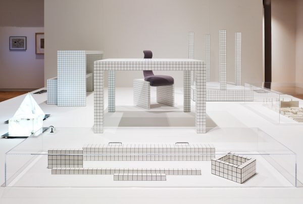 """Furniture items by Superstudio on show in """"Superstudio Migrazioni"""" at CIVA in Brussels, featuring the grid pattern from """"Continuous Monument."""""""