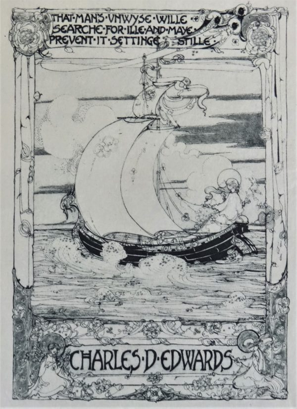 A 1907 Jessie M. King bookplate for Charles D. Edwards on Japanese vellum.