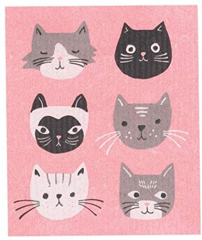 Now Designs Swedish Dishcloth, Set of 2, Cats Meow 2 Count