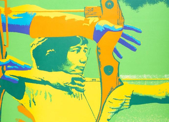 Otl Aicher 1972 Munich Olympics Archery poster. Featured image