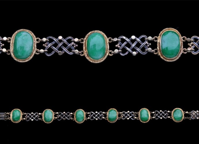 A silver, gold and green jade bracelet from The Artificers Guild. Attributed to Edward Spencer.
