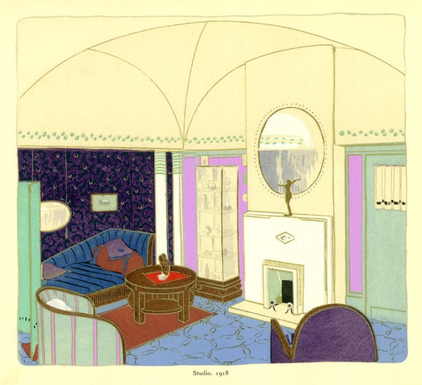 An original rendering of an Émile-Jacques Ruhlmann interiors