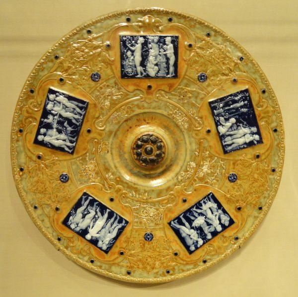 Plaque with pâte-sur-pâte cameo inserts, 1901, Sèvres porcelain designed by Maxmilien Taxile Doat