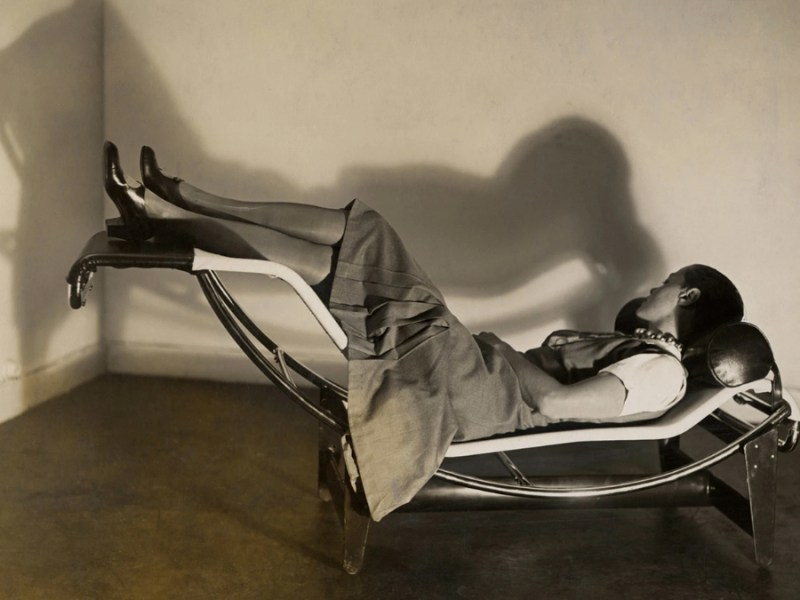 """Charlotte Perriand in the famous """"Chaise longue basculante B 306,"""" from 1929"""