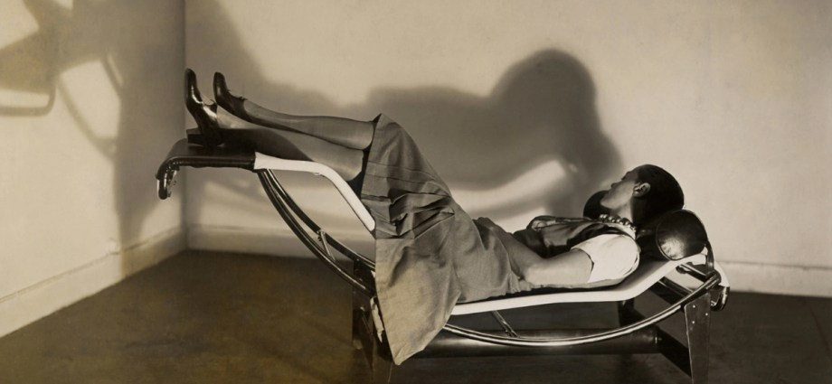 "Charlotte Perriand in the famous ""Chaise longue basculante B 306,"" from 1929"
