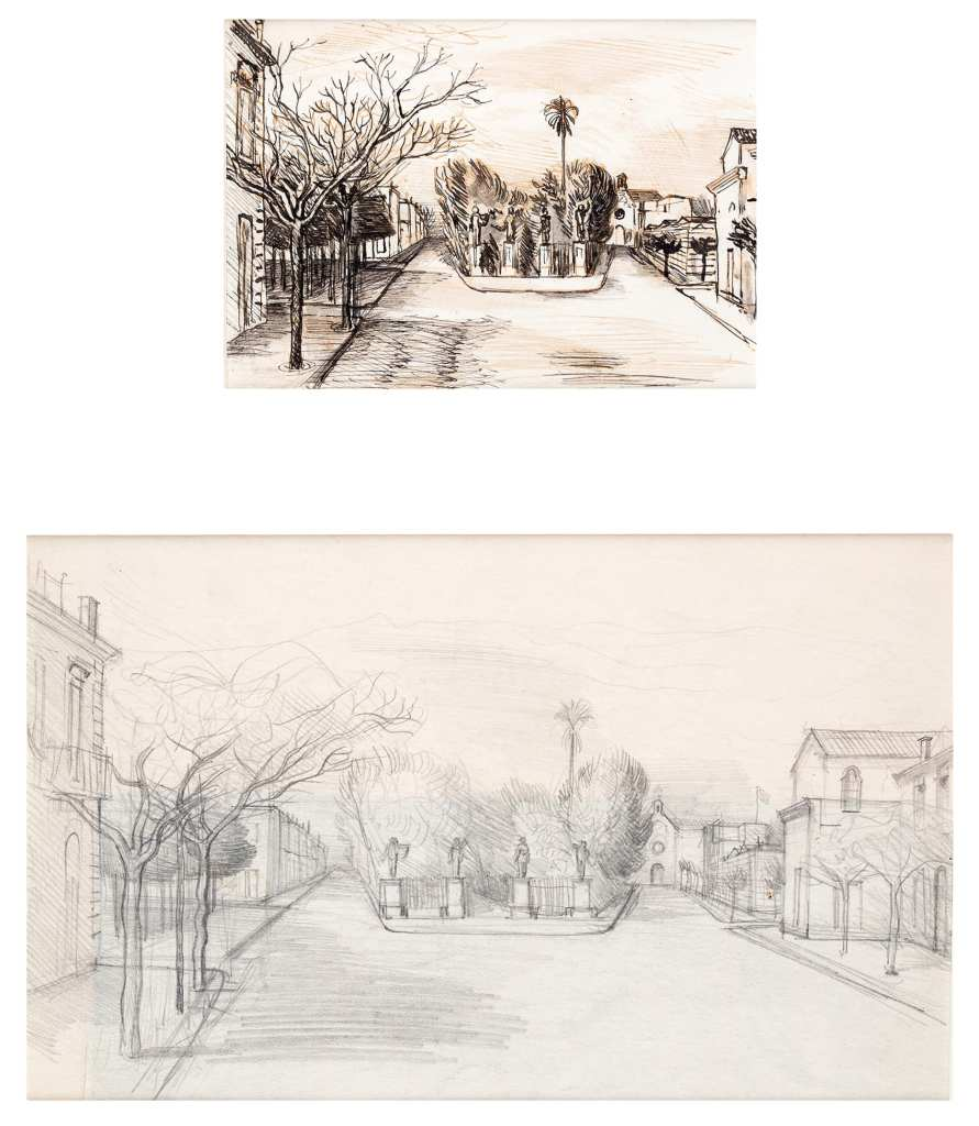 John Aldridge's pen and ink drawing of San Severo and a pencil drawing of the same scene, circa 1944 or 1945.
