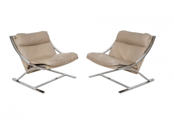 Leather Lounge Chairs for Strässle, Switzerland 1968 designed by Paul Tuttle