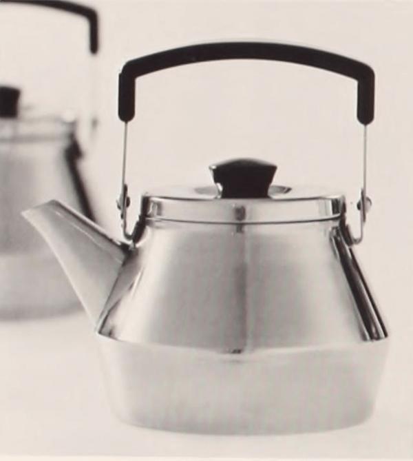 Teakettle (1963) stainless steel and phenoplast designed by Börje Rajalin