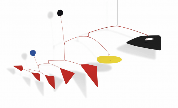 Hanging mobile—sheet metal, wire and paint designed by Alexander Calder (1954)