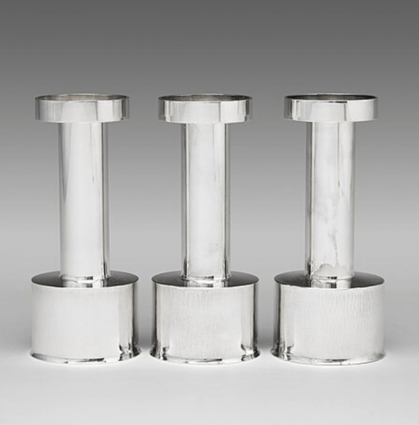 A set of three sterling silver candlesticks , ca. 1965–1970 designed by Sigurd Persson