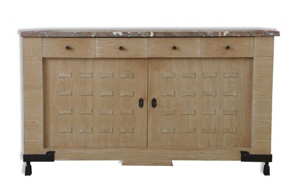 Étienne Kohlmann cabinet. Exceptional sideboard by Etienne Kohlmann with two doors and four drawers, marble top