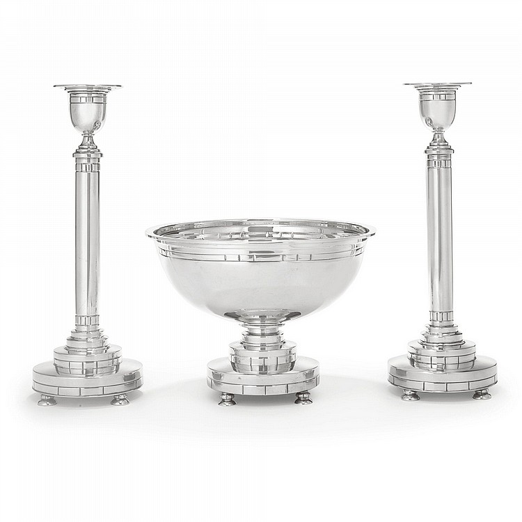 Modern American footed bowl and pair of candlesticks engraved with bands of stylised triglyphs designed by Erik Magnussen.