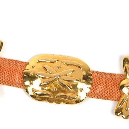 Vintage Alexis Kirk Gold Hardware Honey Colored Lizard Belt