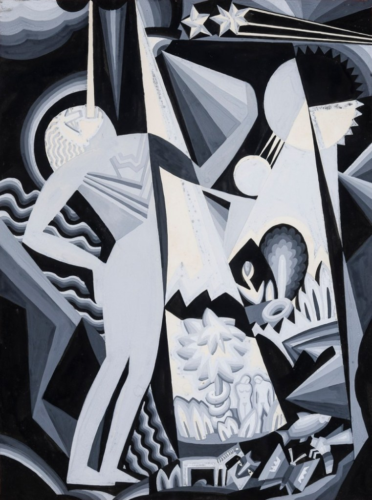 """WINOLD REISS (1886-1953), """"Composition IV,"""" n.d. (tempera on paper, 19 7/8 x 14 7/8 inches)."""