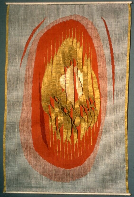 Encrusted Gold and Flame – Woven Hanging, 1987 by Theo Moorman