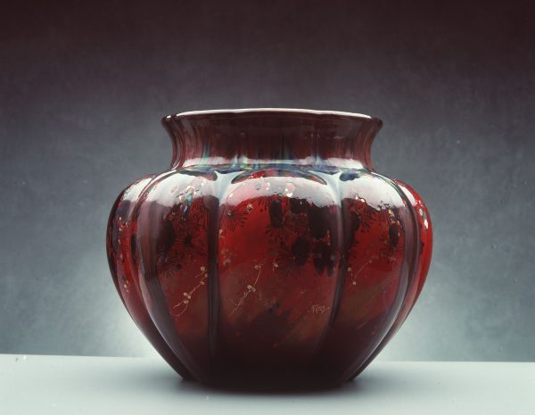 Rougé flambe ceramic vase by Charles John Noke