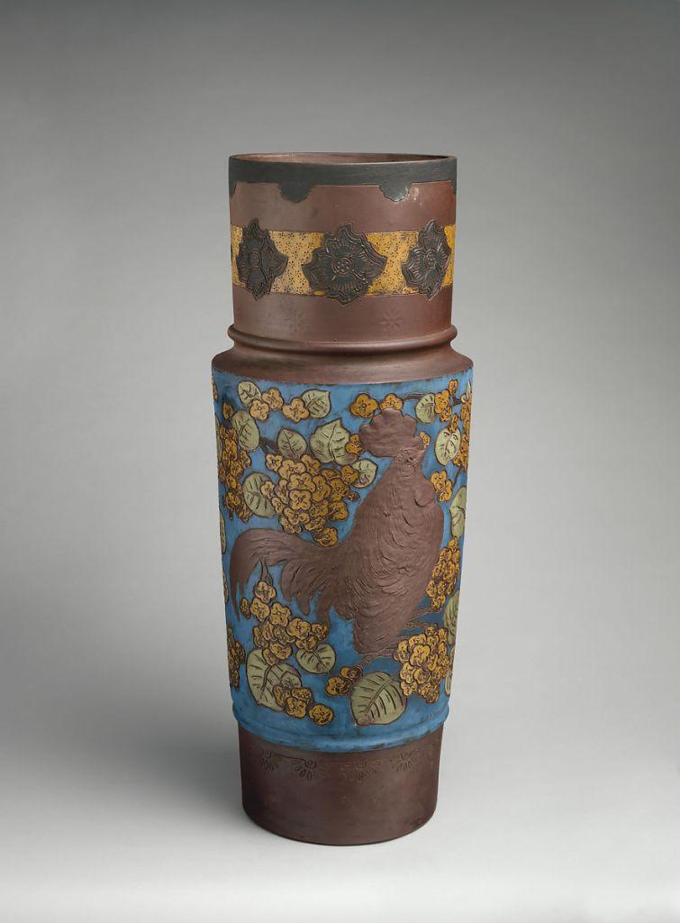 Vase with rooster ca. 1884 for Haviland & Co designed by Ernest Chaplet