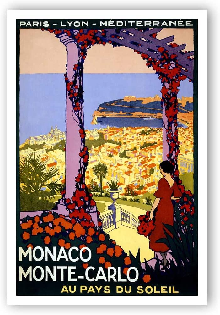Vintage travel poster Monte Carlo postcard set