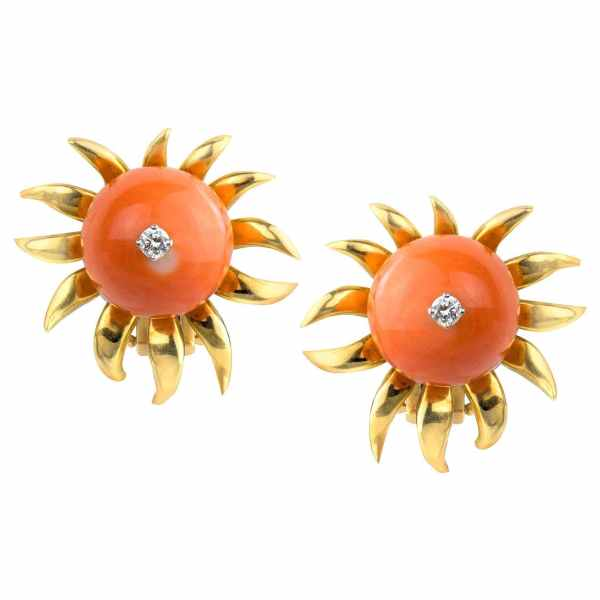 Schlumberger for Tiffany & Co Coral Bead and Diamond Flower Earclips, 18 Karat