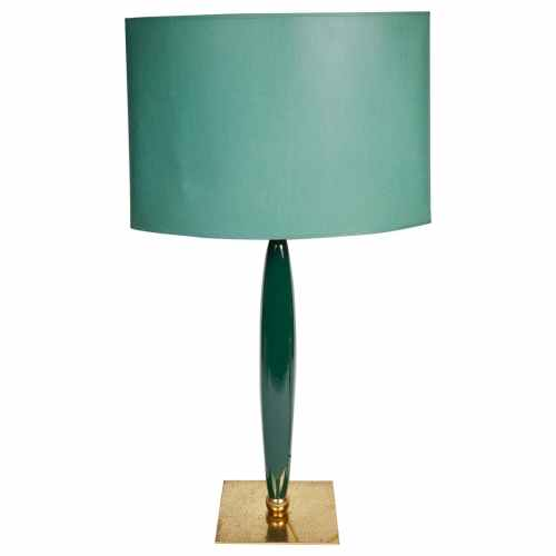 Stylish Ceramic and Brass Table Lamp Designed by Hilton Mcconico