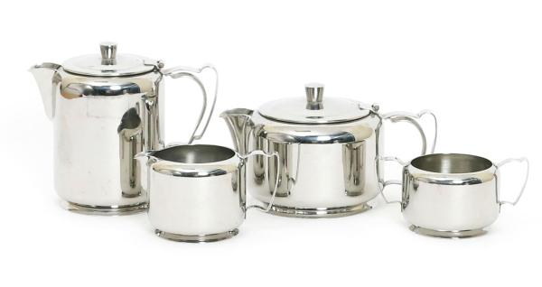 An old hall Cumberland stainless steel four piece Tea Set by Harold Stabler