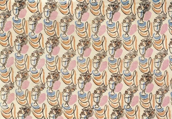 Little Urn furnishing fabric 1932 designed by Grant Duncan for Allan Walton textiles