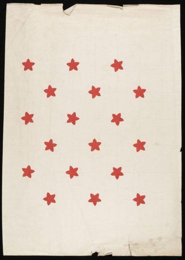 Textile design star pattern made in 1936 designed by Allan Walton