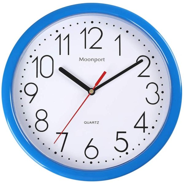 10 Inch Wall Clock,Silent Non-Ticking Quartz Battery Operated Round Easy to Read for Home/Office/School Clock-Blue