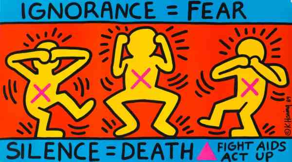 Keith Haring's Ignorance = Fear, 1989. Photograph: © Keith Haring Foundation