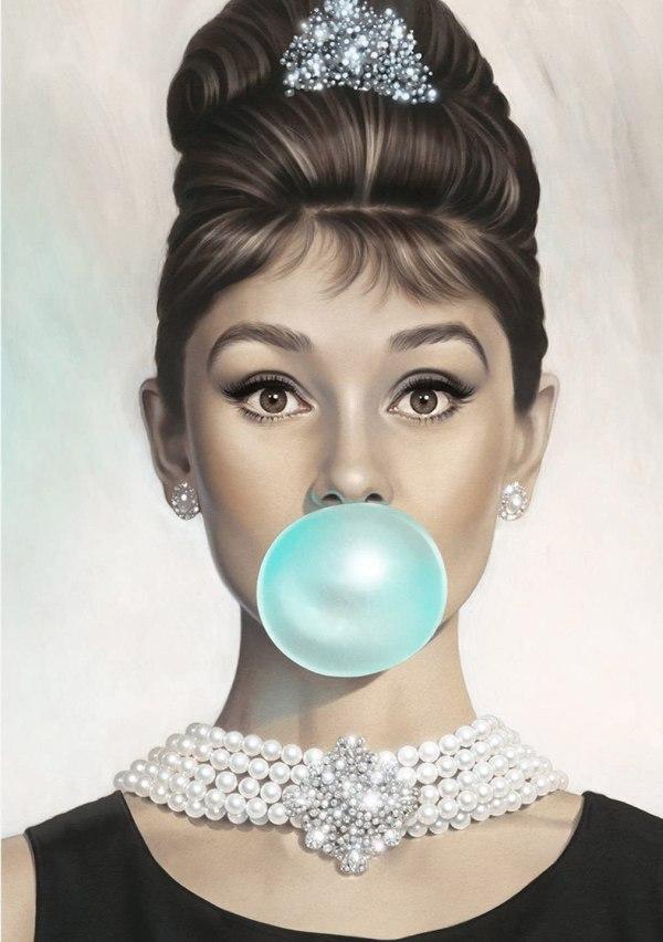 Van Eyck Audrey Hepburn Tiffany Blue Bubble Gum Canvas Poster Wall Art for Bedroom Decor Kitchen Decoration Living Home Decoration