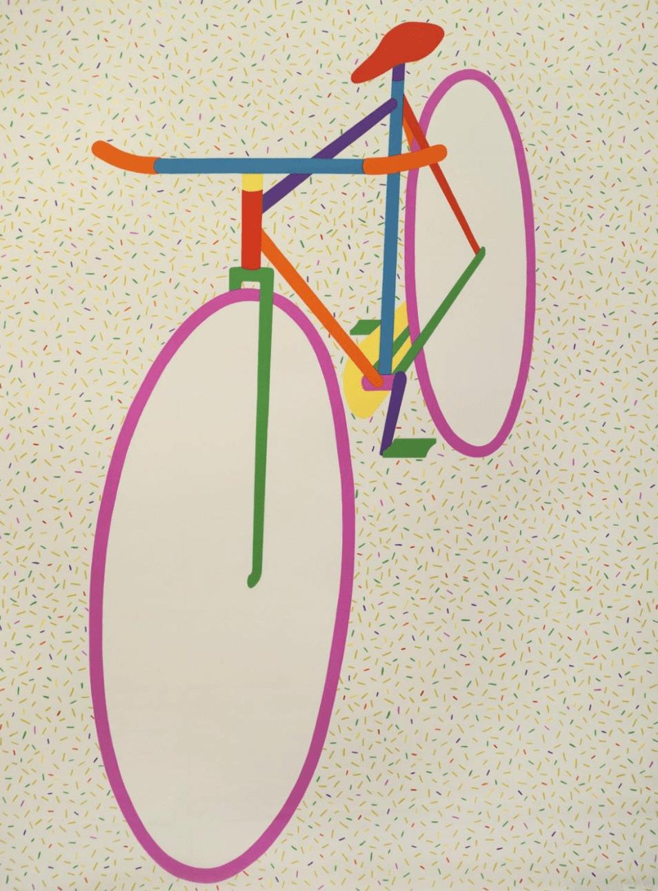 "Printed Textile: ""Bicycle"" Designed by Hiroshi Awatsuji, Japanese, 1929 - 1995. Made by Fujie Textile Company, Ltd., Tokyo, Japan"