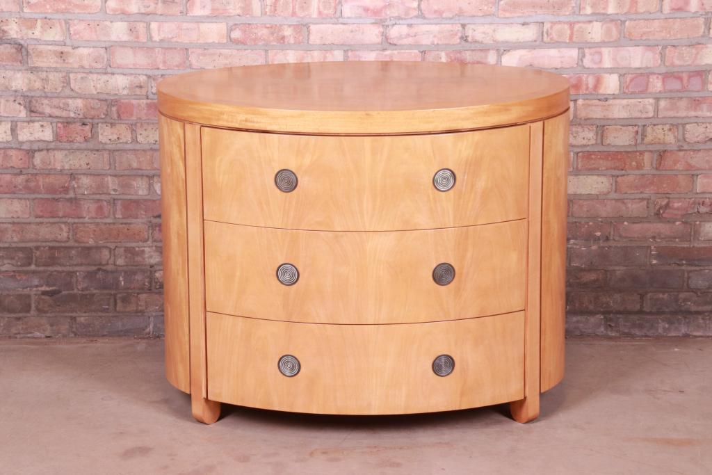 Charles Pfister for Baker Furniture Art Deco Primavera Oval Commode or Bachelor Chest