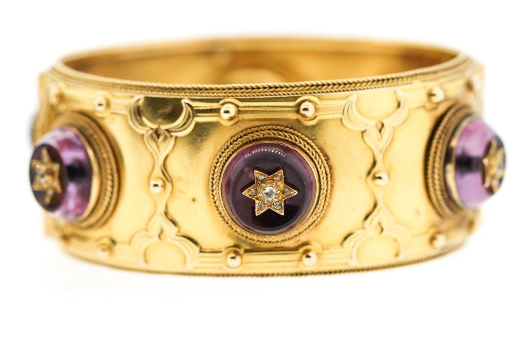 A pair of Victorian Carlo Guilano 18K Gold Amethyst Diamond Cuff Bracelets